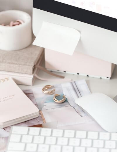 Pink Desk Scene - Photo by Haute Stock - Wildflower Pinterest Management Service