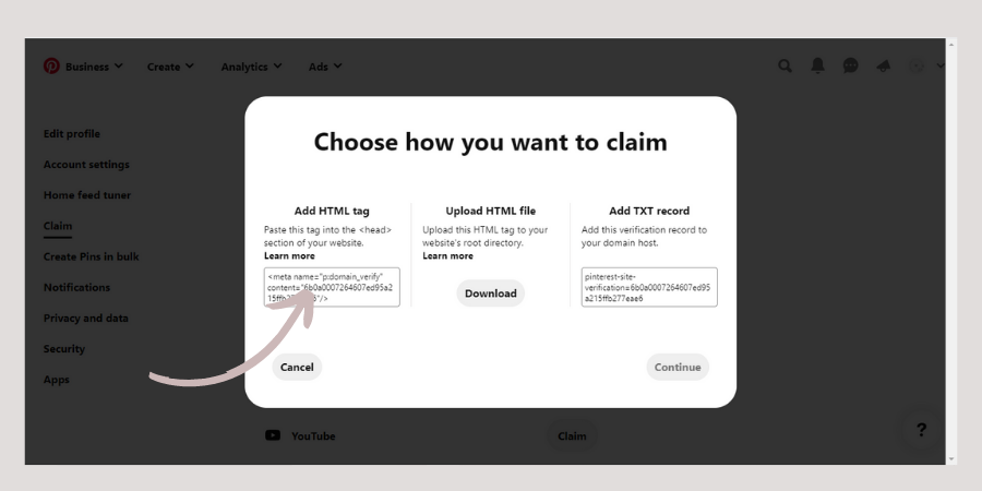 Screenshot showing how to claim a website in Pinterest by Wildflower Pinterest Management