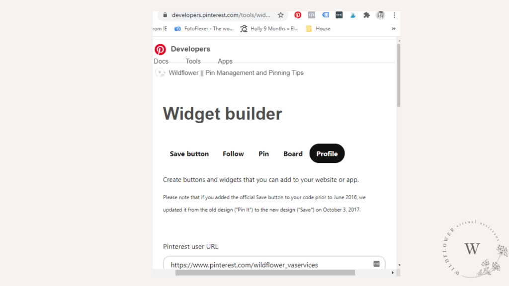 Screenshot showing how to add in Pinterest widget text to WordPress blog HTML
