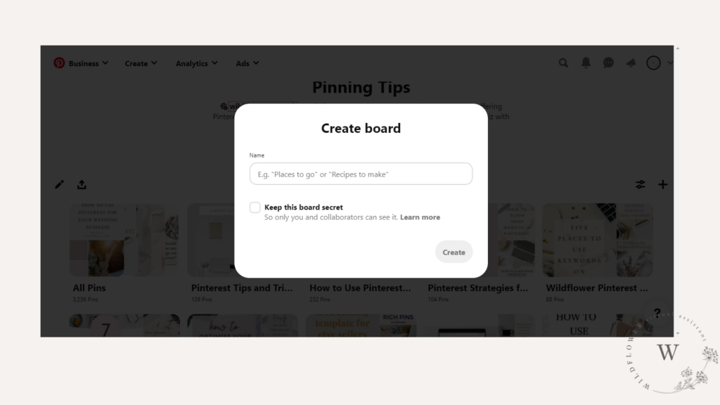 Screenshot showing how to make a board in Pinterest from blog post What is Pinterest and How to Get Started - a Beginner's Guide