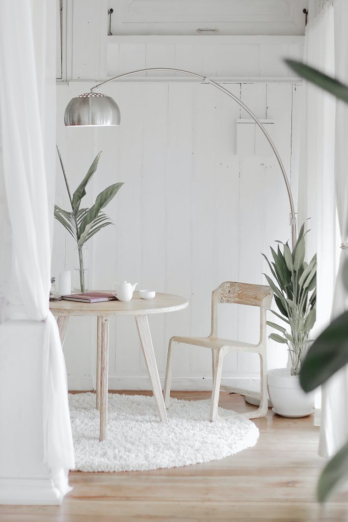 Light and airy Scandi style table and chairs - work from home office