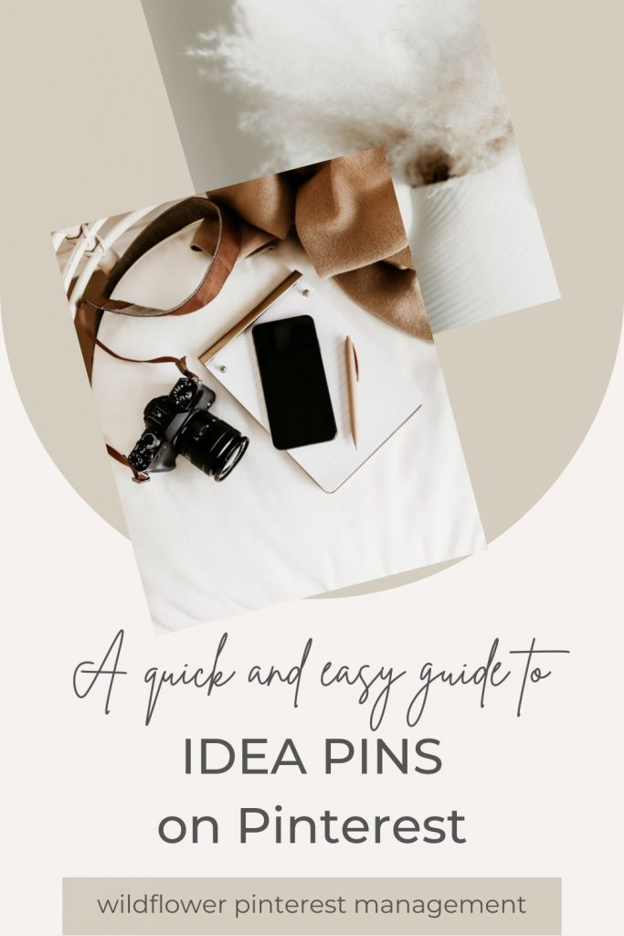 """Promotional image for blog post """"How To Make Idea Pins on Pinterest"""" by Wildflower Pinterest Management"""