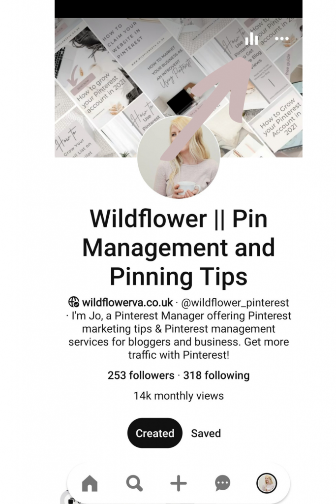 Where to find Pinterest analytics on mobile - Screenshot from How to Understand Pinterest Analytics by Wildflower Pinterest Management