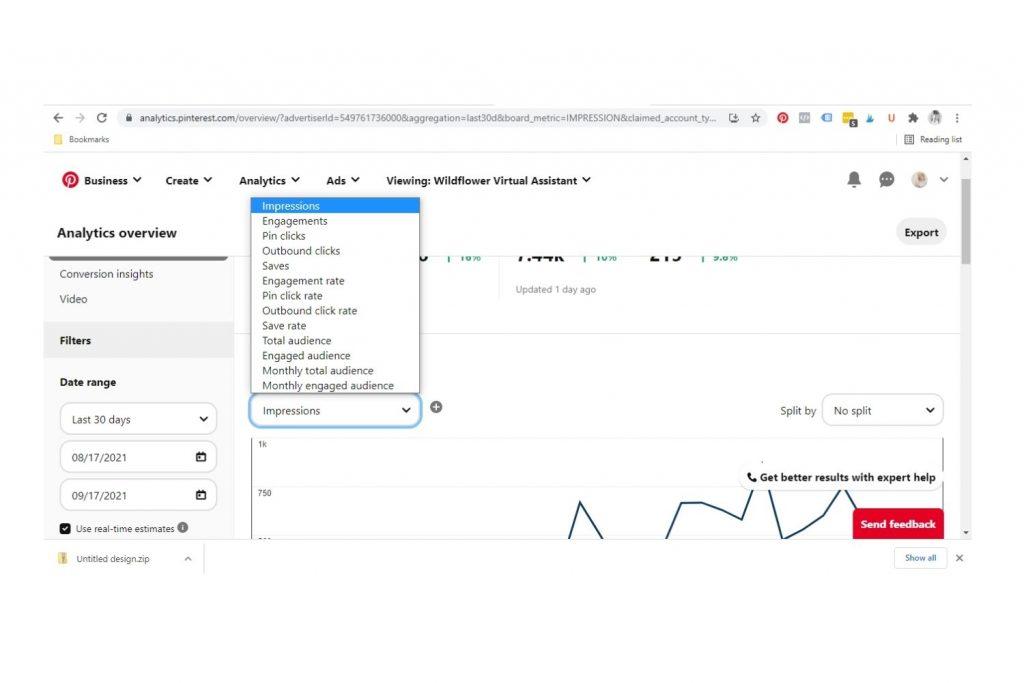Screenshot from How to Understand Pinterest Analytics by Wildflower Pinterest Management